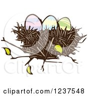 Clipart Of A Woodcut Nest With Easter Eggs Royalty Free Vector Illustration