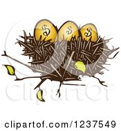 Clipart Of A Woodcut Nest With Golden Dollar Eggs Royalty Free Vector Illustration