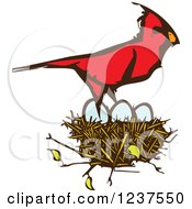 Clipart Of A Woodcut Cardinal Bird Over Eggs In A Nest Royalty Free Vector Illustration