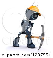 Clipart Of A 3d Blue Android Construction Robot Using A Pick Axe Royalty Free CGI Illustration