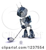 Clipart Of A 3d Blue Android Robot Golfing Royalty Free CGI Illustration