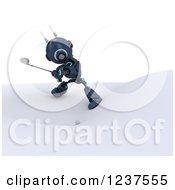 Clipart Of A 3d Blue Android Robot Golfing 2 Royalty Free CGI Illustration