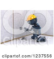 Clipart Of A 3d Blue Android Construction Robot Installing An Electrical Socket Royalty Free CGI Illustration