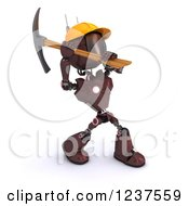 Clipart Of A 3d Red Android Construction Robot Using A Pick Axe 2 Royalty Free CGI Illustration