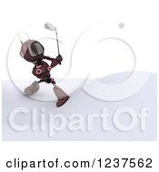 Clipart Of A 3d Red Android Robot Golfing Royalty Free CGI Illustration