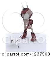 Clipart Of A 3d Red Android Robot Golfing 2 Royalty Free CGI Illustration