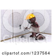 Clipart Of A 3d Red Android Construction Robot Installing An Electrical Socket Royalty Free CGI Illustration