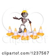 Clipart Of A 3d Red Android Construction Robot With Cones And A Pickaxe 2 Royalty Free CGI Illustration