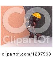 Clipart Of A 3d Red Android Construction Robot Plastering Over A Brick Wall Royalty Free CGI Illustration