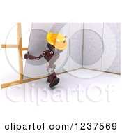Clipart Of A 3d Red Android Construction Robot Hanging Drywall Royalty Free CGI Illustration