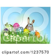 3d Easter Bunny With Eggs Butterflies Grass And Flowers On A Hill