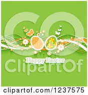 Clipart Of A Happy Easter Greeting With Waves Flowers Butterflies And Eggs On Green Royalty Free Vector Illustration