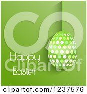 Clipart Of A Suspended Polka Dot Egg And Happy Easter Text On Green Royalty Free Vector Illustration