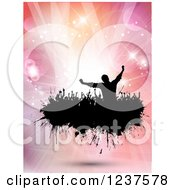 Clipart Of Black Silhouetted People Dancing On A Black Splatter Over Pink Flares And Lights Royalty Free Vector Illustration