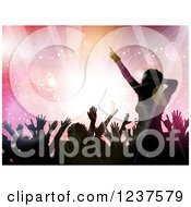Clipart Of Black Silhouetted People Dancing Over Pink Flares And Lights Royalty Free Vector Illustration