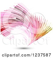 Clipart Of Colorful Fanning Lights And Shadow On White Royalty Free Vector Illustration