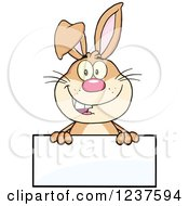 Clipart Of A Happy Brown Rabbit Over A Blank Sign Royalty Free Vector Illustration