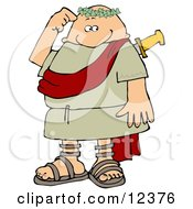 Confused Roman Man Rubbing His Head After Being Stabbed In The Back Clipart Picture