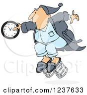 Clipart Of A Caucasian Man In Pajamas Springing Forward With A Clock Royalty Free Vector Illustration