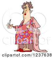 Fat White Woman In Curlers And A Robe Smoking A Cigarette And Holding Coffee