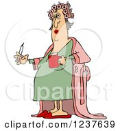 Clipart Of A Fat Caucasian Woman In Curlers And A Robe Smoking A Cigarette And Holding Coffee Royalty Free Vector Illustration