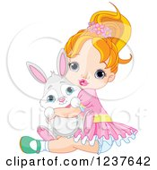 Red Haired Caucasian Toddler Girl Hugging A Cute Bunny On Easter