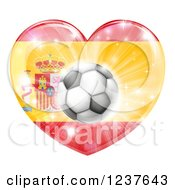 Clipart Of A 3d Spanish Flag Heart And Soccer Ball Royalty Free Vector Illustration