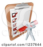 Clipart Of A 3d Silver Man Filling Out A Survey On A Giant Clipboard Royalty Free Vector Illustration
