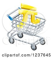 Clipart Of A 3d Golden Yuan Currency Symbol In A Shopping Cart Royalty Free Vector Illustration