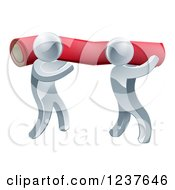 Clipart Of 3d Silver Carpet Installers Carrying A Roll Royalty Free Vector Illustration