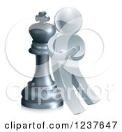 Clipart Of A 3d Strategic Silver Man Leaning Against A King Chess Piece Royalty Free Vector Illustration