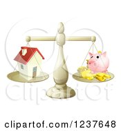 Clipart Of A Scale Comparing A House And Piggy Bank Royalty Free Vector Illustration