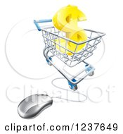 3d Gold Dollar Symbol In A Shopping Cart With A Computer Mouse