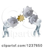 Clipart Of 3d Silver Men Working As A Team With Gear Cogs Royalty Free Vector Illustration