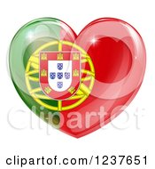 Clipart Of A 3d Reflective Portugese Flag Heart Royalty Free Vector Illustration