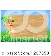 St Patricks Day Leprechaun Pointing To A Wooden Sign Over Grass And Sky