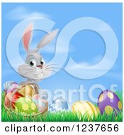 Clipart Of A Gray Bunny Rabbit With Easter Eggs And A Basket Against Sky Royalty Free Vector Illustration
