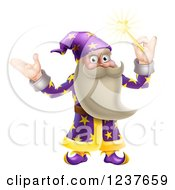 Clipart Of A Friendly Old Wizard Holding Up A Magic Wand Royalty Free Vector Illustration