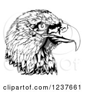 Clipart Of A Black And White Bald Eagle Head In Profile Royalty Free Vector Illustration