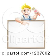 Happy Blond Male House Painter Holding A Brush And Pointing Down To A White Board Sign