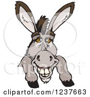 Clipart Of A Happy Donkey Smiling Over A Sign Royalty Free Vector Illustration by Dennis Holmes Designs
