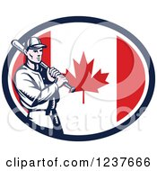 Clipart Of A Woodcut Baseball Player Batting Over A Canadian Flag Oval Royalty Free Vector Illustration