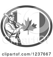 Clipart Of A Black And White Woodcut Baseball Player Batting Over A Grayscale Canadian Flag Oval Royalty Free Vector Illustration