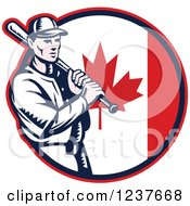 Clipart Of A Woodcut Baseball Player Batting Over A Canadian Flag Circle Royalty Free Vector Illustration by patrimonio