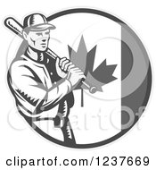 Clipart Of A Black And White Woodcut Baseball Player Batting Over A Grayscale Canadian Flag Circle Royalty Free Vector Illustration