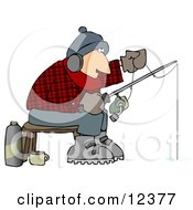 Cold Man Ice Fishing In The Winter Clipart Picture
