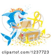 Clipart Of A Pirate Shark By Sunken Treasure Royalty Free Vector Illustration