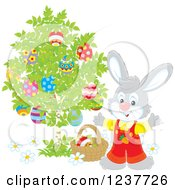 Clipart Of A Cute Gray Easter Bunny Picking Eggs From A Tree Royalty Free Vector Illustration