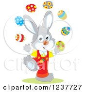 Clipart Of A Cute Gray Easter Bunny Juggling Eggs Royalty Free Vector Illustration