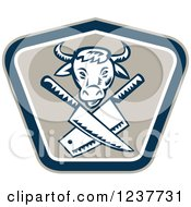 Clipart Of A Retro Woodcut Cow Over Crossed Butcher Knives In A Shield Royalty Free Vector Illustration